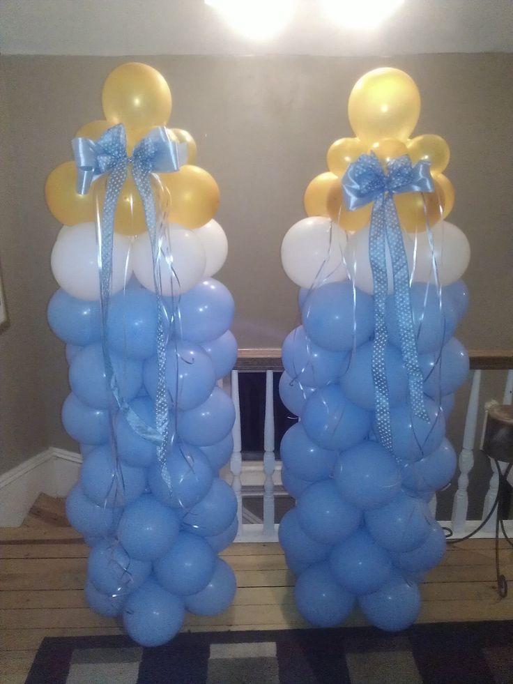 Baby bottle balloons i made for baby shower balloon art for Balloon art for baby shower