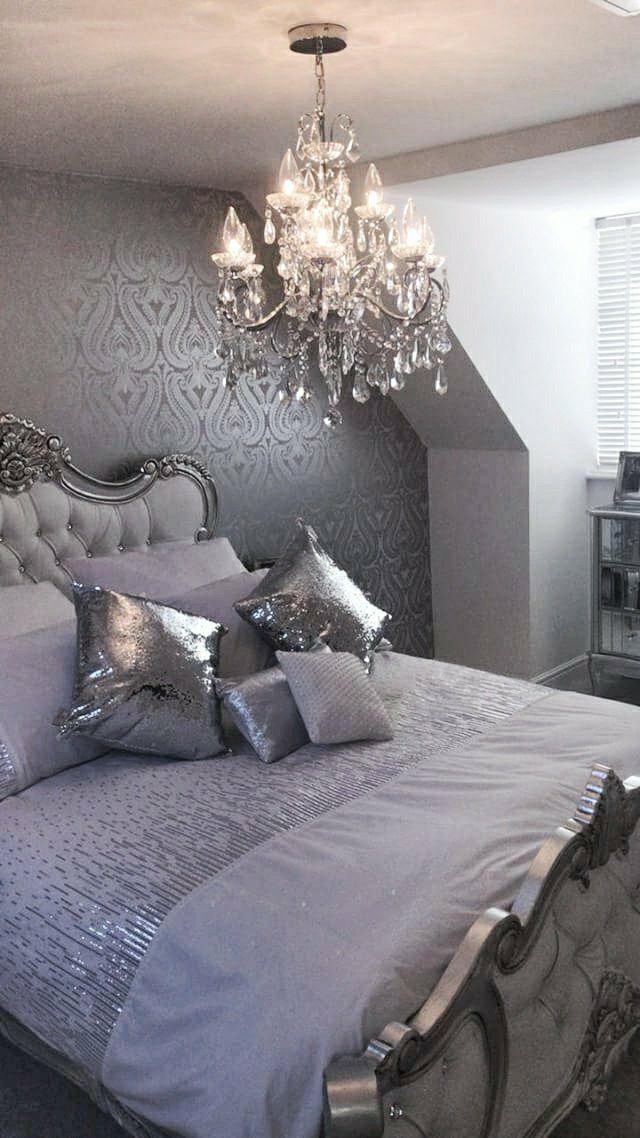 Shimmer Damask Wallpaper Soft Grey Silver Posh Bedroom Elegant Bedroom Luxury Bedroom Master