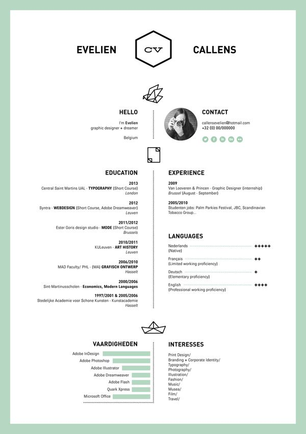 resume by evelien callens  via behance fantastic creative