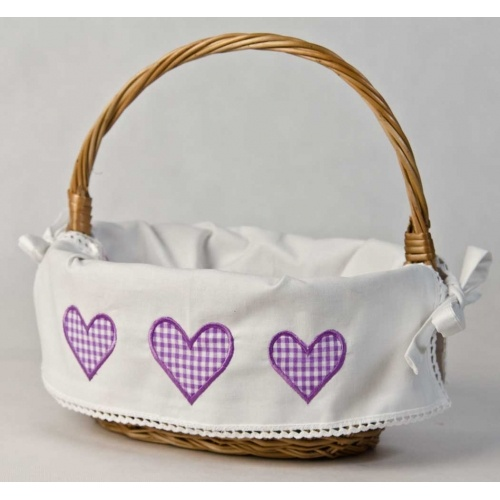 """Apliqued basket """"Country hearts"""" in violet 100% cotton! $17; basket, home decor, gift idea, kitchen idea, kids room, decoration, embroidery"""