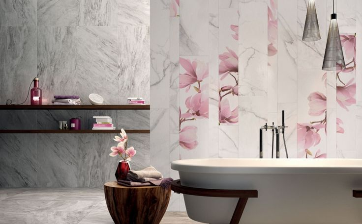 Blumen Motive im modernen Badezimmer - Fliesen Supreme