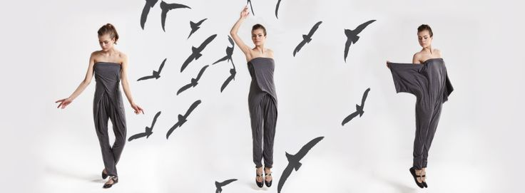 IN.NA beautiful girl wearing IN.NA jumpsuit flying with the birds