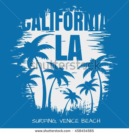 Vector illustration on the theme of surf and surfing in Venice beach,  California, Los