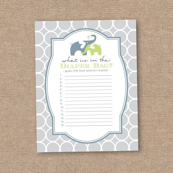 Boy Baby Shower Game, Guess What Is In The Diaper Bag, Elephant, Instant  Printable Download