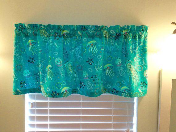 Seascape Beach Theme Kitchen Curtain Ensemble Witth Beaded Shell