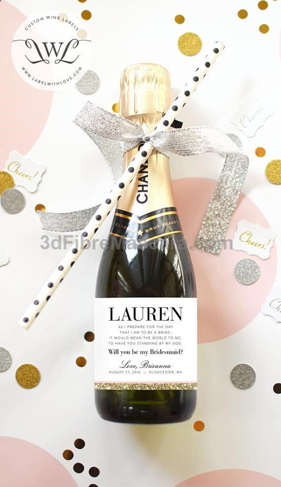 Will You Be My Bridesmaid Mini Champagne Labels by LabelWithLove #lingerie #gifts #forher #her #valentines #valentinesday #ladies #female #outfit #morning #ideas #dressingup #erotic #valentinegift