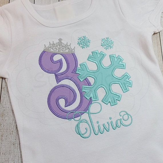 Snowflake Princess. Frozen Birthday Shirt OR Bodysuit. Appliquéd & embroidered. Personalized. By Sixpence Crafts