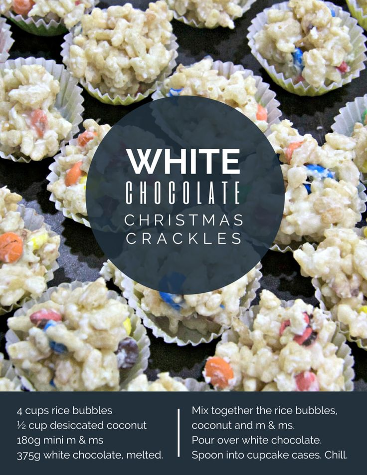 White Chocolate Christmas Crackles. (Rice bubbles are the same as rice krispies for those of you stateside).