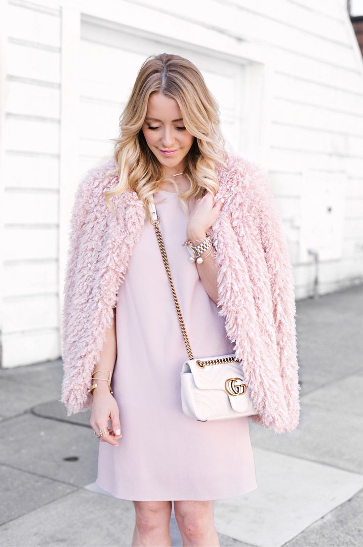 Spring style - Blush Dress, Shaggy Faux Fur Jacket, Kenneth Cole New YorkLuisa Pearl Heels, Gucci Bag