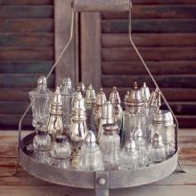 Another favorite. Sterling & crystal salt & pepper shakers; I love the impact this collection makes!