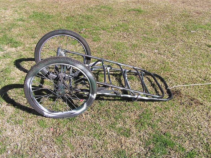 """Cart made from a rear end of an old 3 wheel bicycle and 3/4 & 1/2"""" e.m.t. conduit. You can get the conduit cheap ay Lowes. Use the pattern of other carts and weld the thing together"""