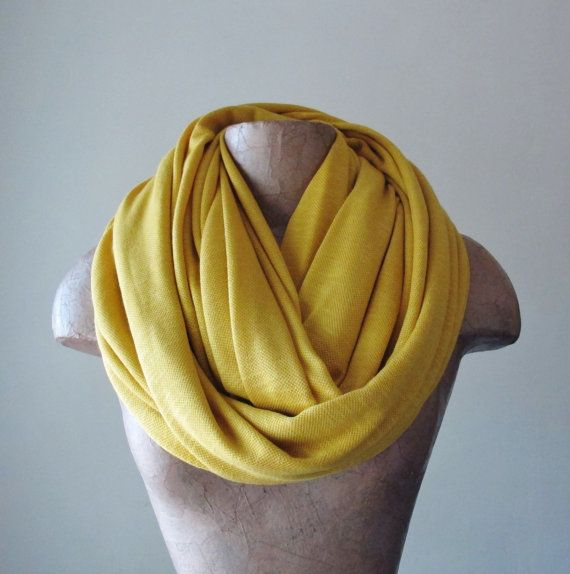 Chunky Mustard Yellow Scarf - Textured Knit Infinity Scarf - Oversized Circle Scarf - Fashion Scarf