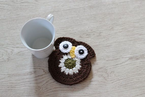 Owl Mug Cup Coaster Mat by slouchiehats on Etsy