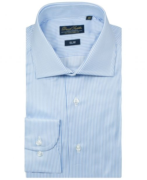 The sky blue and white shirt Firenze for men is a classy choice. The pure cotton Twill of the garment represents a mark of high quality. With a narrow striped blue and white pattern, the garment is a tradition for the man who dresses in a classic style.