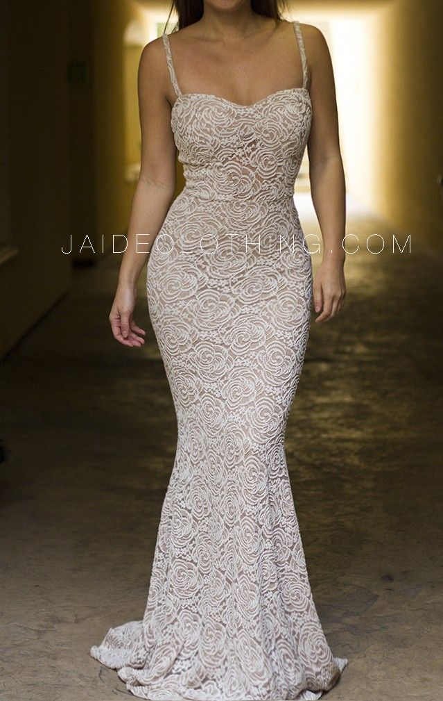 fitted mermaid lace maxi dresses | Cream Mermaid Bustier Lace Maxi Dress