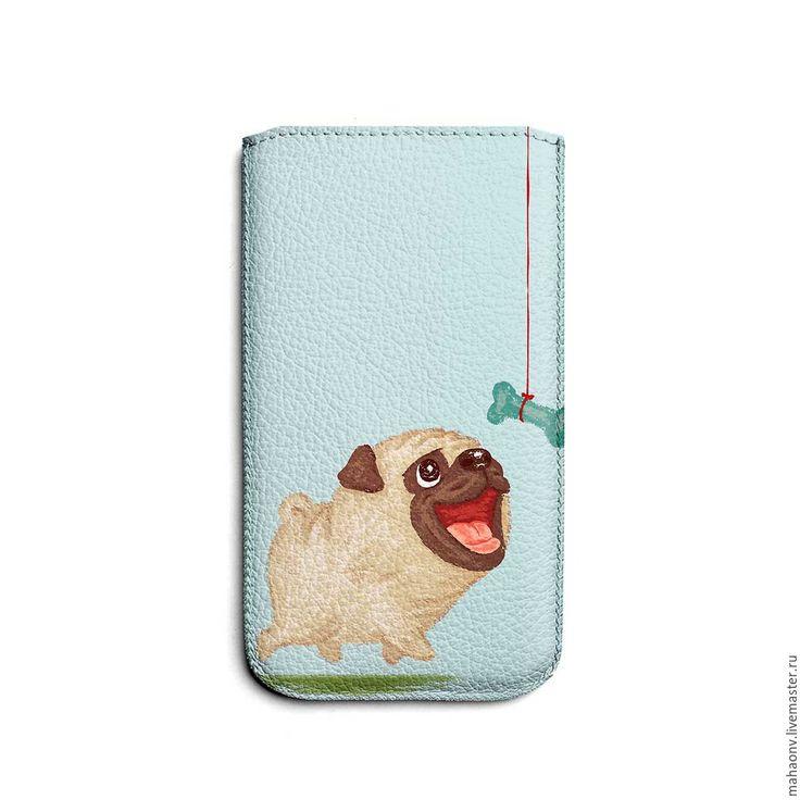 Купить Чехол для iPhone 6 (Plus) Мопс, собака - белый, обложка, подарок, чехол