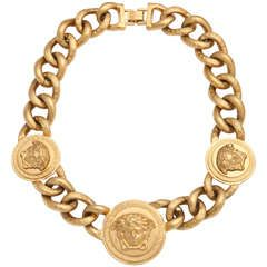 Versace 3 Medusa Gold Chain Necklace
