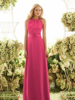 A-Linie/Princess-Stil Round-Ausschnitt Rosa Chiffon Belt Bodenlang Kleider