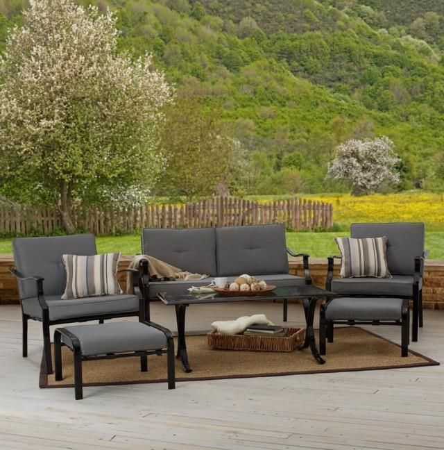 Awesome Outdoor Grey Conventional Stained Wooden Conversation Set With Brown Wool  Branket Also Basket And Carpet Besides. Cheap Patio ...