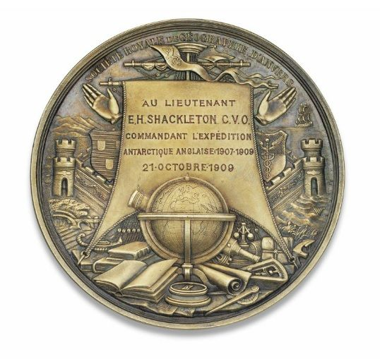 A medal awarded to Sir Ernest Shackleton - Royal Geographical Society of Antwerp Gold Medal, 1909