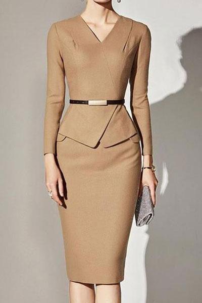 V-Neck Plain Bodycon Dress 2