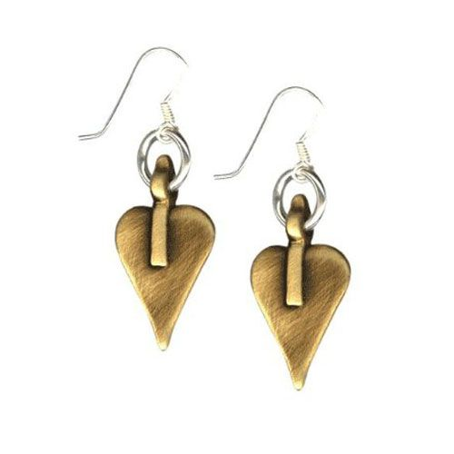 Danon Bronze Signature Heart Drop Earrings on Silver Hoop and Hook. View details http://www.lizzielane.co.uk/shop/danon-bronze-signature-heart-drop-earrings-on-silver-hoop-and-hook £25