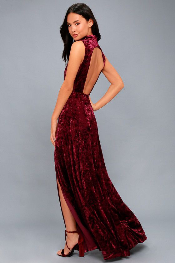 fdd088a6bb Feel like a priceless work of art when you wear the In the Louvre Burgundy Velvet  Backless Maxi Dress! Stunning crushed velvet falls from a mock neck into a  ...
