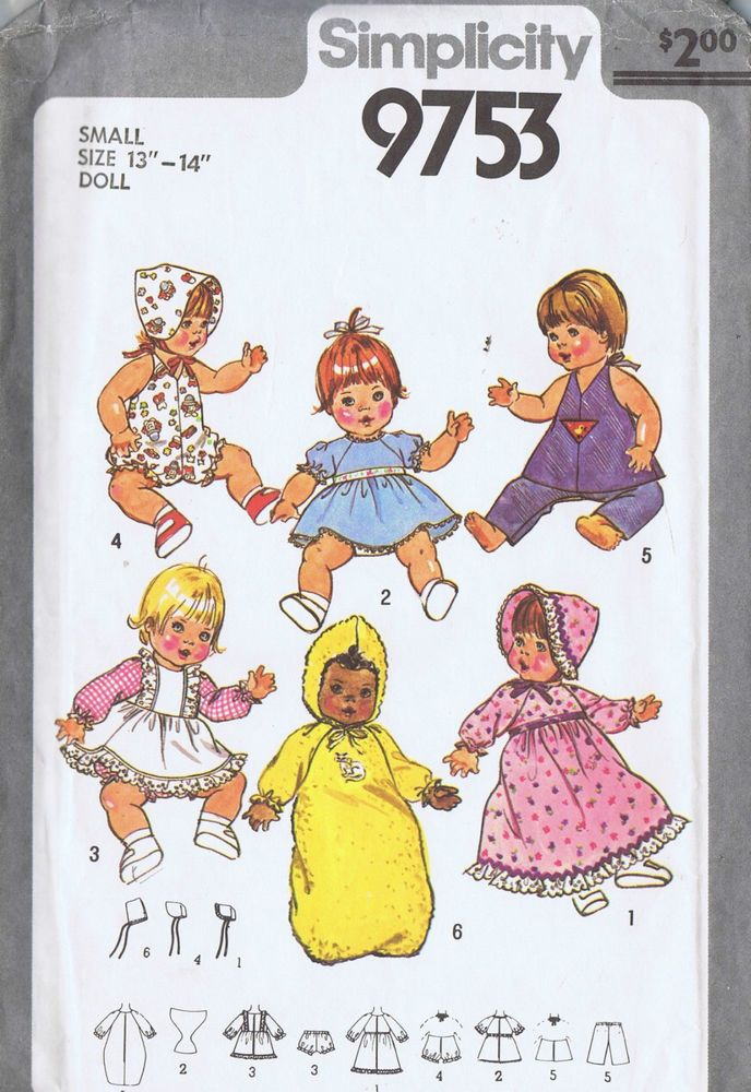 Baby wet and care doll clothes sewing pattern 9753