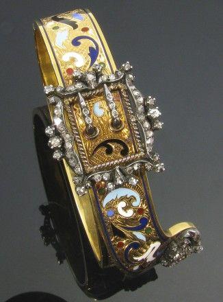 Champlevé enamel and diamond Jarretiere bracelet. French Circa 1840-1860. Represented by Camilla Dietz Bergeron-Miami Beach Antique Jewelry Watch Show
