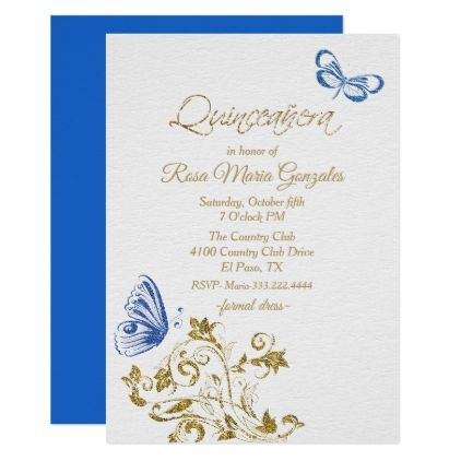 Blue Butterflies Chic Quinceanera Invitation