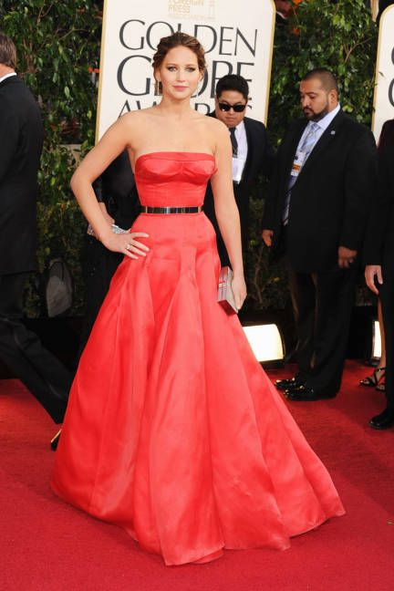 Jennifer Lawrence - wore belted Dior Haute Couture.