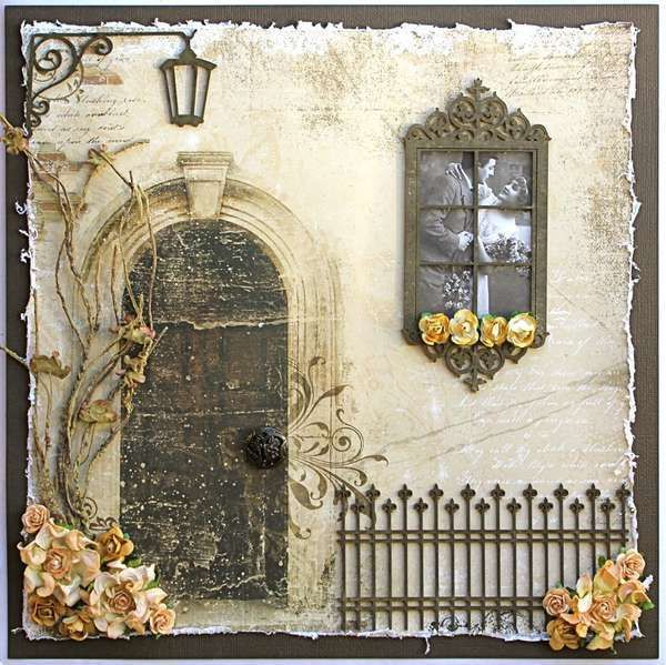 Chipboard (really fancy chipboard!) embellishments to create a scene. Love all the little details on this. {window}