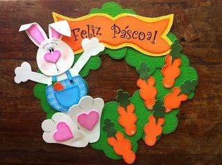 toys - Reciclagem divertida e artesanato: Guirlanda de Pascoa - Coelho Guloso