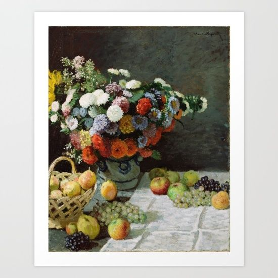 Claude Monet - Still Life with Flowers and Fruit Art Print