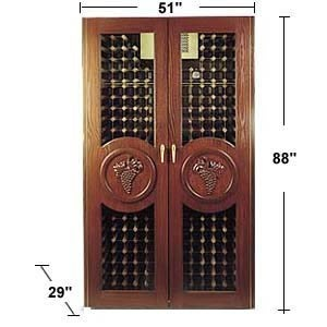 Vinotemp Concord 450-bottle Wine Cabinet Mahogany Finish on White Oak Hand-carved Grape Motifs Redwood & Aluminum Racking Locking Doors. The Vinotemp Concord wine cellar features two full double-paned glass doors, fluorescent lighting, a Vinotemp 1500 WineMate cooling unit and Victorian mahogany finish on the white oak exterior. Reliable and attractive wine storage that will look beautiful anywhere in your home.       Victorian mahogany finish on white oak veneer   3 coats of finish, 3 coats…