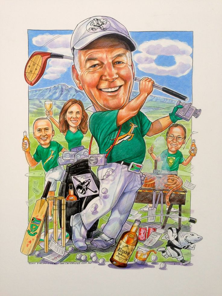 Another birthday caricature organised by the family. A lover of golf and taking movies....plus a real S.A. BBQ.