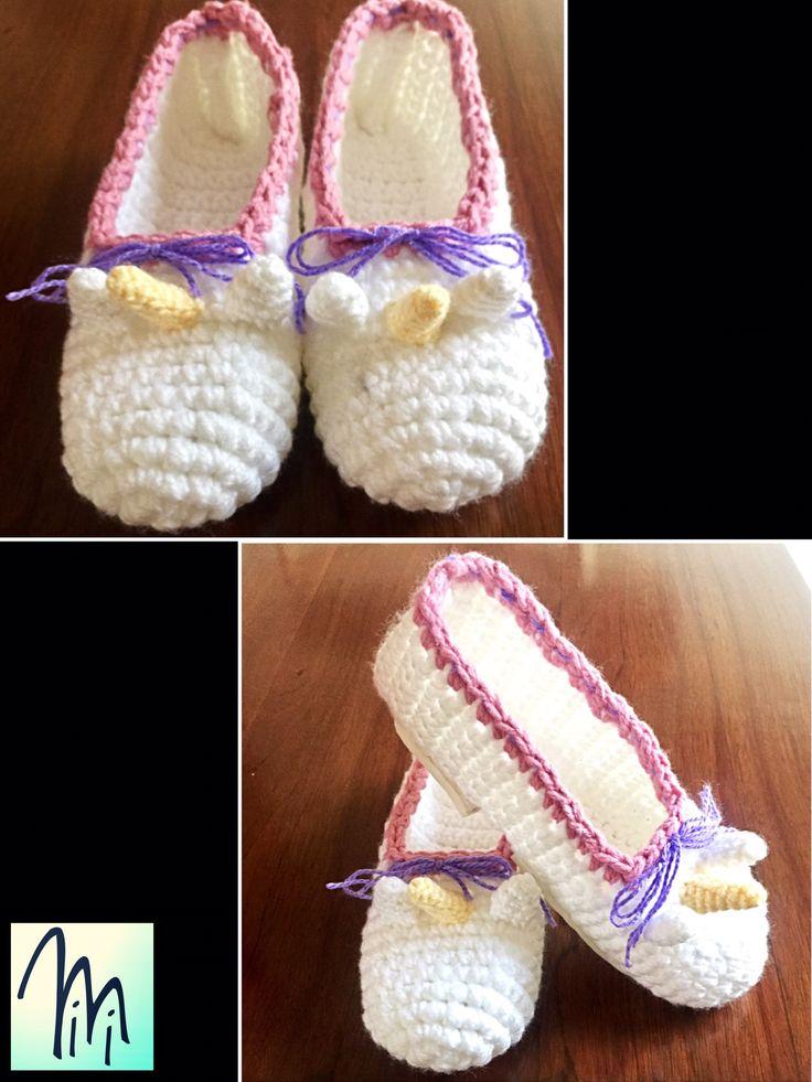 Pantuflas unicornio crochet