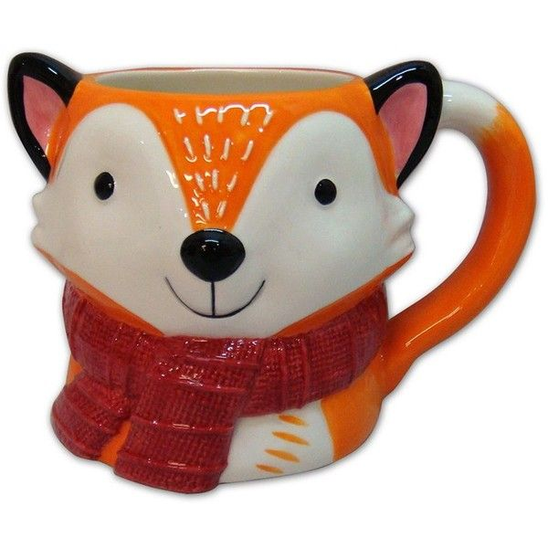St. Nicholas Square North Pole 17-oz. Fox Mug (Orange) ($12) ❤ liked on Polyvore featuring home, kitchen & dining, drinkware, orange, wizard of oz mug, stoneware mugs, fox mug, orange stoneware and orange mug