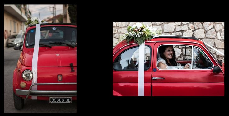 Vintage car Fiat 500 wedding decoration with flowers