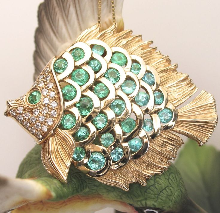 14k Yellow Gold Paraiba Tourmaline & Diamond Fish Pin/ Pendant by from divinefin...