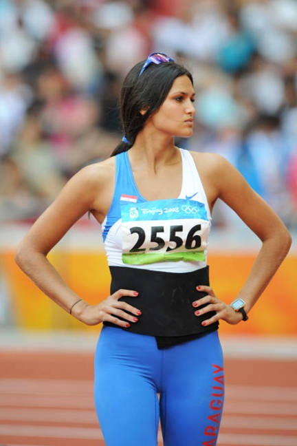 Olympic inspiration. The clear motivation behind this summer's track trends. Paraguayan model/javelin thrower Leryn Franco.
