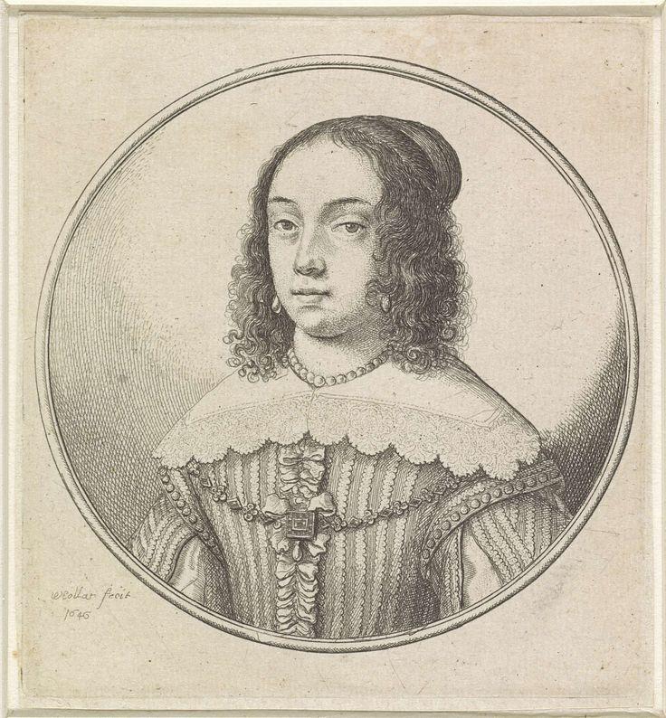 Vrouw met kanten kraag, parelketting en gekruld haar, Wenceslaus Hollar, 1646