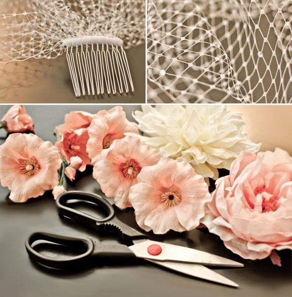 DIY birdcage veil; I love the flowers on this one! I will probably end up making my own fascinator.