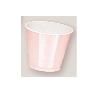 Plastic Pale Pink Cups. There are 20 Plastic Cups per package. These 9 ounce cups come in 22 colours to match any theme or event.