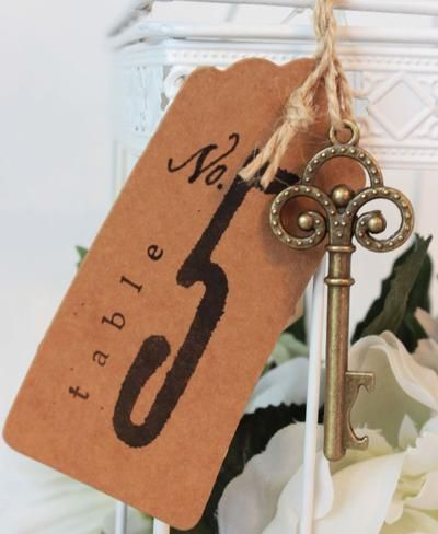 50 Key Bottle Openers with Tags & Twine - Antique Gold Trinity Keys