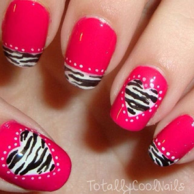 Zebra print heart on hot pink nails - how to / tutorial