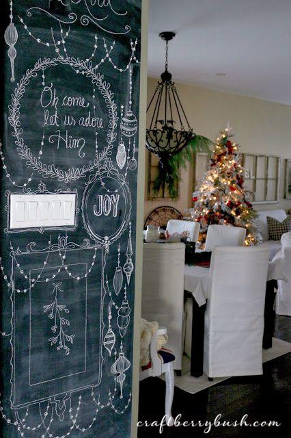 Christmas chalk board wall from Craftberry Bush! #laylagrayce #holiday #decor