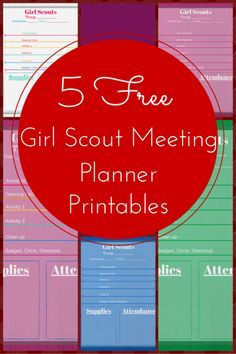 5 Free Girl Scout Meeting Planner Printables! Keep those meetings organized with activities and supplies.