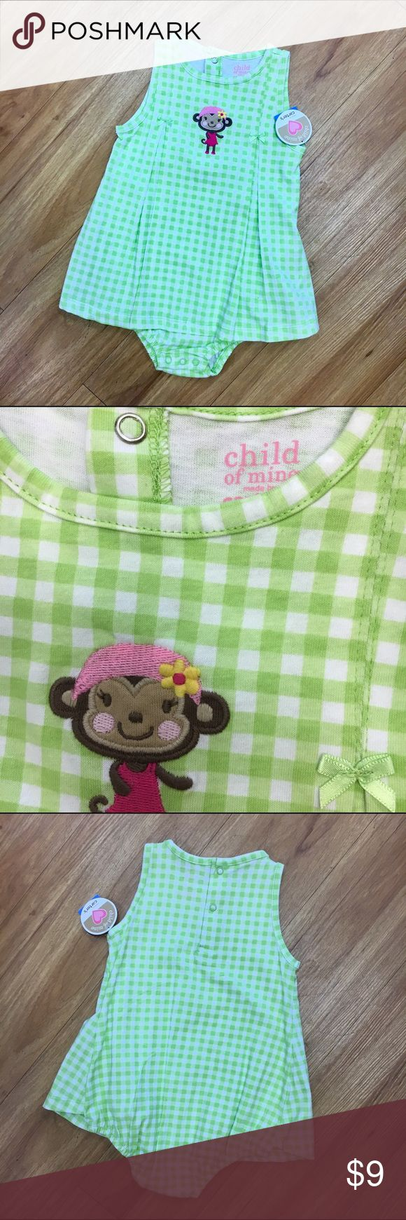 Child of Mine Carter's Green Gingham Monkey 24 mo Child of Mine Carter's Green Gingham Monkey Sunsuit 24 Mo  This looks like a dress with bloomers but it's an all-in-one.  Snaps in back and between legs.  Elastic around legs.  Knit.  #new #nwt #romper #sunsuit #playsuit #onepiece #allinone #dress #gingham #green #monkey #carters #childofmine Child of Mine One Pieces