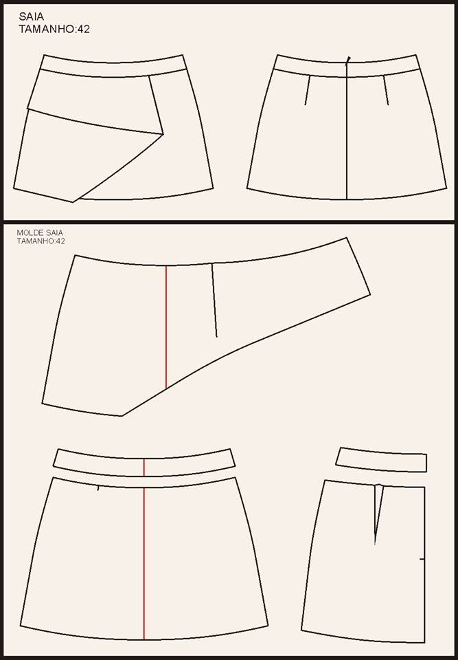 Modelagem de saia assimétrica. Fonte: https://www.facebook.com/photo.php?fbid=199067940264685&set=a.115900968581383.20248.104276163077197&type=1&theater